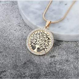 gold tree life Australia - Hot Tree of Life Crystal Round Small Pendant Necklace Gold Silver Colors Bijoux Collier Elegant Women Jewelry Gifts Dropshipping