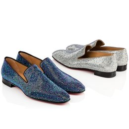 OxfOrd leather shOes fOr men online shopping - Red Bottom Oxford Shoes Dandelion Strass Flat For Gentleman Party Bussiness Dress Slip On Loafers Shoes Luxury Men s Leisure Fashion Flat