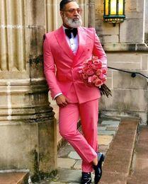 Hot pink blazers online shopping - Popular Double Breasted Hot Pink Groom Tuxedos Peak Lapel Groomsmen Mens Suits Wedding Prom Dinner Blazer Jacket Pants Tie K309