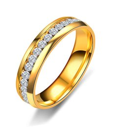 Diamond Cluster Rings Wholesale Australia - Explosive Stainless Steel Men and Women Ring Couple Single Row Drill Full Diamond Ring Wholesale Jewelry