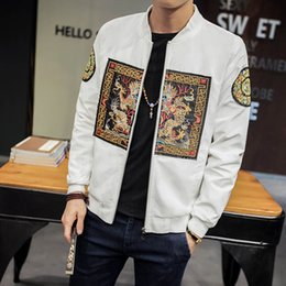Discount culture clothing - Autumn New Chinese Culture Jacket Dragon Embroidery Slim Fit Jacket Zipper Stand Collar Coat Men Clothing 4XL 5XL