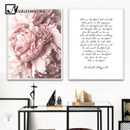 home decoration canvas prints Australia - Scandinavian Flower Canvas Art Nordic Wall Painting Prints Nursery Pink Floral Poster Quote Decoration Picture Modern Home Decor