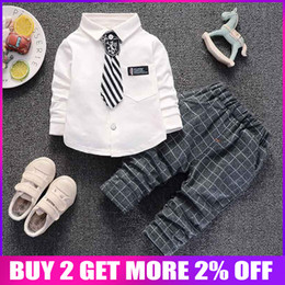 White Suits For Toddlers Australia - Newborn Baby Boys Spring Autumn Clothing Set Toddler Fashion Shirt+pants 2pcs Casual Suits For Bebe Boys Infant Cotton Clothes J190520