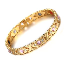 $enCountryForm.capitalKeyWord Australia - Hot Sale Germanium Magnetic Bracelet Health Care Elements Chain Bracelet Pink Rhinestone Gold Color 316L Stainless Steel Bracelets for women