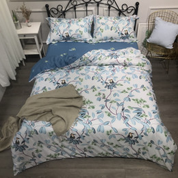$enCountryForm.capitalKeyWord Australia - Leaves Birds Duvet Cover Set, 100% Cotton Ultra Soft Bedding Blooming flowers Comforter cover Bed sheet Queen King size 4Pcs