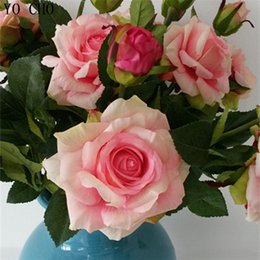 Real Fake Flowers Australia - Real Touch Flower Artificial Roses Fake Roses Silk Roses Peony Silk Peonies Bouquet 4 Bud Flowers Wedding Home Decoration Fake Peony