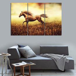Run Horses Painting Australia - 3PCS Cool Running Black Horse Wall Painting Realist Animal Canvas Painting Home Wall Decor Art Print livingroom Hotel Workshop