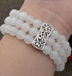 Tibetan Silver White Bracelet Australia - New natural women 8mm white jade beads Stretch Tibetan silver bracelet 3 rows