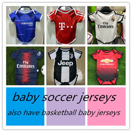 Chinese  18 19 Real Madrid Baby soccer Jerseys Cotton Short Sleeve Jump suit Baby Triangle Climb Clothes pedro hazard united bayern psg baby jerseys manufacturers