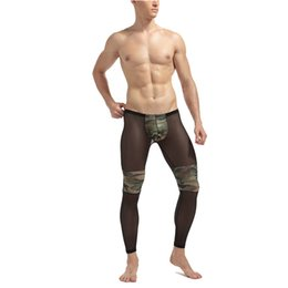 Tights Bodybuilding Legging Australia - Men's Fashion Sexy Transparent Mesh Camouflage Tights Stage Performance Breathable Bodybuilding Shee Pants Legging