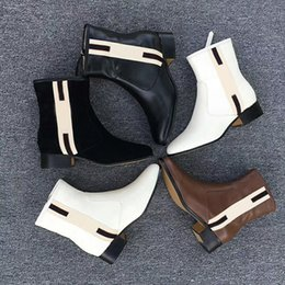 Newest fashioN boots online shopping - Newest Women designer boots web band leather ankle boots chelse boots real leather coarse size US5 Winter shoes with box