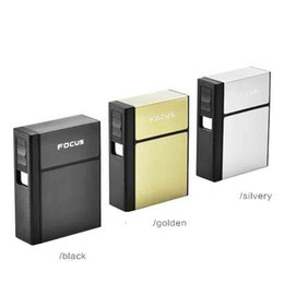 $enCountryForm.capitalKeyWord Australia - Newest Cigarette Case Holder Container 4 Colors With Rechargeable Electric USB Lighter 20pcs Capacity Gift Box For Smoking Tools Sale