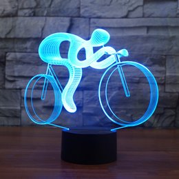 $enCountryForm.capitalKeyWord Australia - 7 Color Changing Visual Riding Bike 3D Night Light LED Table Lamp Usb Lampara Bicycle Light Fixture For Children Gift Toys Decor