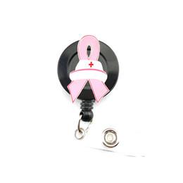 Breast Cancer Awareness Gifts Australia - 20pcs Breast Cancer Awareness Pink Ribbon Retractable Badge Reel Ribbon Enamel Nurse Hat ID Card Badge Holder Clips