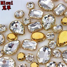 Sew Teardrop Crystal Australia - Micui 30PCS Glass Sew On Rhinestones with Gold Copper Claw Crystal Sew On Claw Rhinestone Glitter Strass For Clothes ZZ735