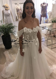 hippie style wedding dresses UK - 3D Floral Crystal Plus Size Cheap Wedding Dresses 2020 A Line Off Shoulder Country Beach Vestido De Novia Hippie Greek Style Bridal Gowns