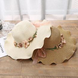 4b5f787a83d1d Summer Women Girls Straw Hats Handmade Flower Bow Weaving Sun Hat UV  Protection Wide Brim Beach Caps Lady Casual Sunscreen Cap