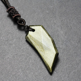 Tooth Crystal Australia - Natural Stones Golden Obsidian Wolf Tooth Pendant Free Necklace Black Obsidian Transfer Lucky Crystal Jewelry Energy Gift