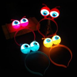 Discount head band supplies - LED Flashing Alien Headband Light-Up Hair Band Glow Party Supplies led Accessories LED Headdress Accessories Head Hoop C