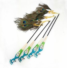 feather wand NZ - pet cat kitten toys teaser wands fishing pole peacock feather sticks real peacock feather