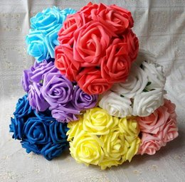 artificial white stem roses NZ - 50pcs Artificial Simulation Foam Camellia Rose Flowers with stem 25cm Wedding Christmas Bridal Flower Several Colors Available