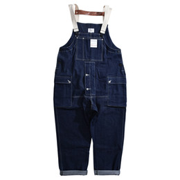 Wholesale jumpsuit wide legs resale online - Male Japan Harajuku Streetwear Hip Hop Jumpsuit Bib Trousers Jeans Overalls Men Loose Casual Wide Leg Denim Cargo Pants