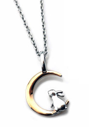 moon rabbit pendants NZ - Necklace ARPSS163-steel+rose gold New 316L rabbit on moon pendant adjustable size chain unisex daily wear prefect gift couple jewelry