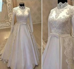 simple high neck long dress NZ - Vintage High Neck Muslim Wedding Dresses 2019 With Long Sleeves Lace Overskirts Satin Country robes de mariée Bridal Gowns With Belt
