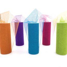 $enCountryForm.capitalKeyWord NZ - tissu tulle 15cm*10Y Fluorescent Tissue Tulle Roll Bling Fabric Ribbon for doll DIY Party Wedding Decoration Supplies