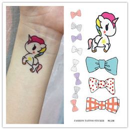 Stickers Tattoos For Kids Australia - Waterproof Temporary Tattoo Sticker on body unicorn horned horse bow tatto stickers flash tatoo fake tattoos for girl kids child