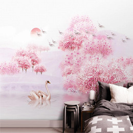 house forest painting Australia - Photo Wallpaper 3D Beautiful Peach Blossom Forest Murals Living Room Wedding House Background Wall Painting Papel De Parede 3 D