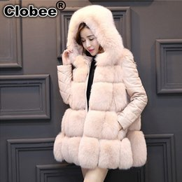 Wholesale leather fur trim coats resale online - Winter Women Imitation Fur Coat PU Leather Long Sleeve Jacket Keep Warm Outwear Lady Overcoat Removable Sleeves V213