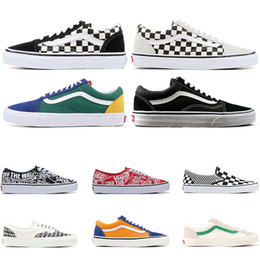 Canvas shoes blue online shopping - 2019 Designer Original old skool MIx Checker OTW REPEAT FEAR OF GOD CHECKERBOARD canvas mens sport sneakers fashion casual shoes size