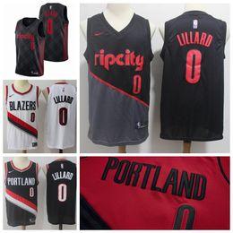 2019 New The City Jerseys Trail Blazers 0 Lillard Jerseys Stitched Mens Rip  City Trail Blazers Lillard Basketball Jerseys Red Black White a0414994e