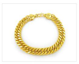 $enCountryForm.capitalKeyWord Australia - Men's New Boss Tank Flat Chain Bracelet Sand Golden Copper Plated Gold Imitation Gold Jewelry