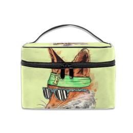 $enCountryForm.capitalKeyWord Australia - Storage Bag Desktop Fox Cartoon Multifunction Dual Compartment Portable Waterproof Cosmetic Bag