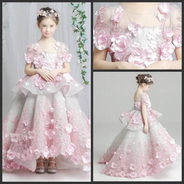 White Communion Dresses Short Australia - Charming Beauty Flower Girl Dresses Short Sleeves Pink 3D Flower Appliques Peplum Communion Dress Lace Appliques Girls Pageant Dresses