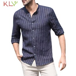 $enCountryForm.capitalKeyWord Australia - Blouse Shirt Men Summer Striped Cotton Linen Button Casual Work Long Sleeve Shirt Male Top Homme Jogging Clothes 19May