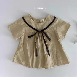 wholesale little girl tees shirts Australia - INS Fashions Little Girls Shirts Cotton Tops Summer Quality Dresses Korean Style Straps Tee Belt Ruffles Shorts Pants Children Girls Clothes
