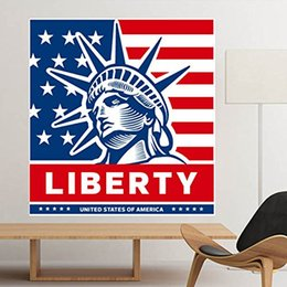 american flag glasses UK - America Flag Liberty Statue Pattern Illustration Removable Wall Sticker City Buildings Art Decals Mural DIY Wallpaper for Room Decal