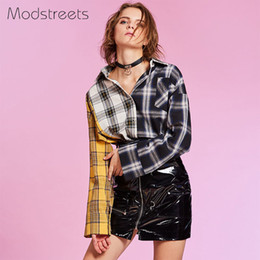 Long Collar Shirts For Girl Australia - Modstreets 2019 Spring Shirt Women Plaid Shirt Cotton Long Sleeve Patchwork Blouse For Girls Korean Top Streetwear Brand Shirt Y190510