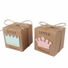 BaBy Boy shower candy Box online shopping - 50pcs Baby Shower Candy Box Little Prince Little Princess Crown Kraft Boxes Blue Pink Candy Box for Girl Boy Birthday Favors Box