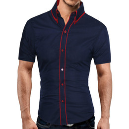 Double Shirt Designs Australia - Brand 2019 Fashion Male Hawaiian Shirt Short-sleeves Tops Double Collar Button Design Mens Dress Shirts Slim Men Shirt 2xl