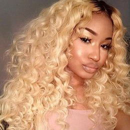 $enCountryForm.capitalKeyWord Australia - Dark Root Blonde Curly Ombre #1B 613 Human Hair Full Lace Wigs With Baby Hair Lace Front Wig For White Woman