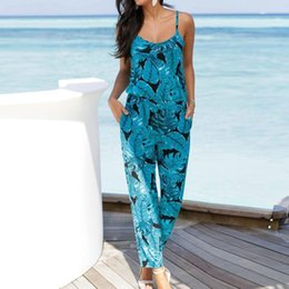 High Quality Jumpsuits Australia - Bodysuit New High Quality Leaves Jumpsuit Sleeveless Floral Printed Playsuit Party Trousers Bodysuits Women July11 Y19051501