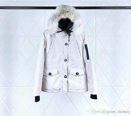 $enCountryForm.capitalKeyWord NZ - Women's Short Goose Down Jacket Beige Hooded Wolf Fur Collar Waist Zipper Closed Waterproof Fabric Cold Warm Jacket DHL Transport