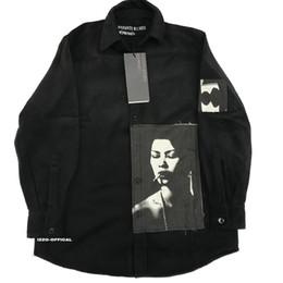18FW Long Shirt Real Rich Bibasic ERD Wool Printing Patch High Street Shirt Fashion Sleeves HFWPWY124 on Sale