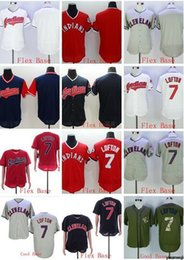 Discount pullover baseball jerseys - Wholesale hot selling Indians blank #7 LOFTON Flexbase Coolbase grey white red pullover Baseball Jerseys Shirt Stitched