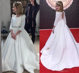 EvEning gowns for toddlErs online shopping - 2019 Vintage Satin Flower Girl Dresses For Wedding With Long Sleeve Beaded Crystal Princess Toddler Party Dress Evening Girls Pageant Dress