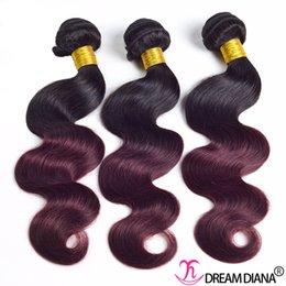 $enCountryForm.capitalKeyWord Australia - Ombre Human Hair Bundles Body Wave Virgin Hair Extensions 3 or 4 Bundles 1B 99J Peruvian Indian Brazilian Malaysian Chinese Hair Weave